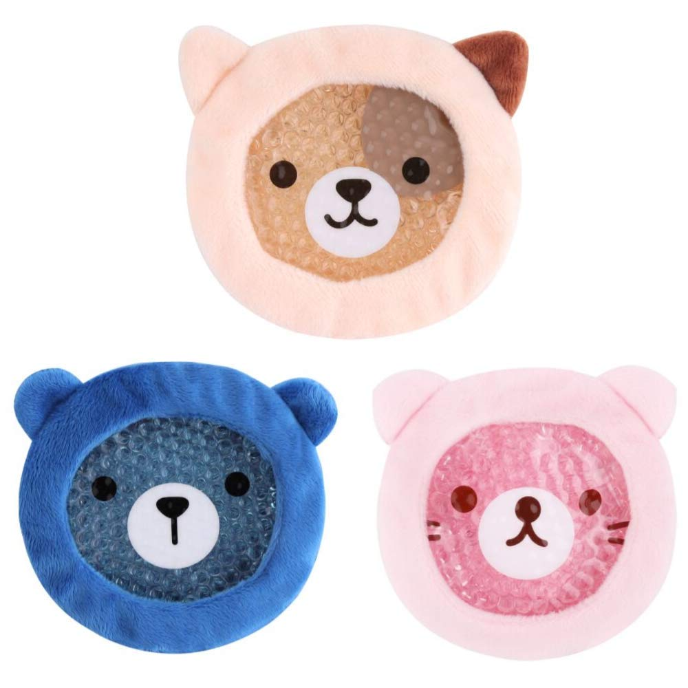 FOMI Premium Kids Hot Cold Ice Packs | 3 Pack | Soft Colorful Sleeves | Fun Animal Designed Children Gel Bead Wrap | Pain Relief for Kids Boo Boos, Fever, Wisdom Teeth, Tired Eyes, Headaches