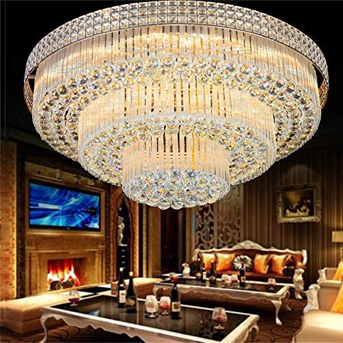 Kankanray 31.5 Luxury K9 Crystal Chandelier Lighting Lamp Flush Mount Ceiling Lamp with Remote, LED Modern Three-Layer Crystal Ceiling Light Pendant Lamp Decorative Light