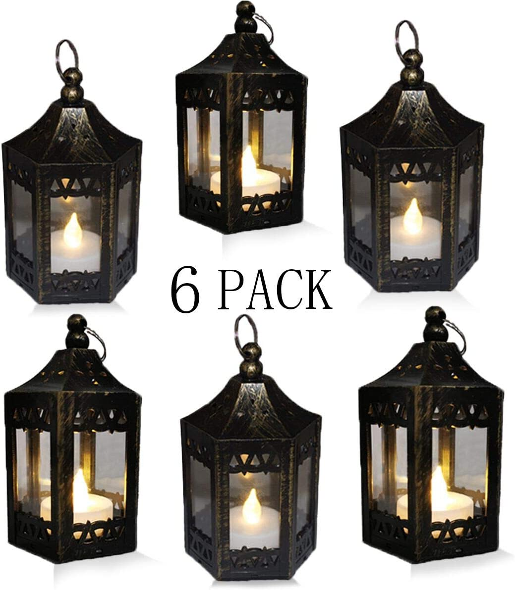 SHYMERY Mini Black Candle Lanterns,Vintage Style Decorative Hanging Small Lantern with Flickering LED for Halloween,Christmas,Wedding,Table Centerpiece, Accent Piece and Party Favor (Pack of 6)