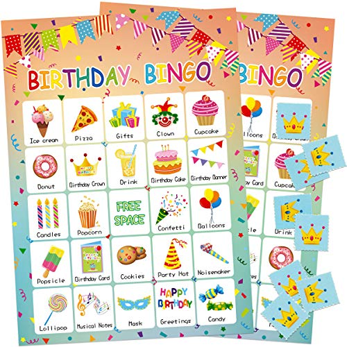 Birthday Bingo Game 24 Players for Kids Party Game Supplies