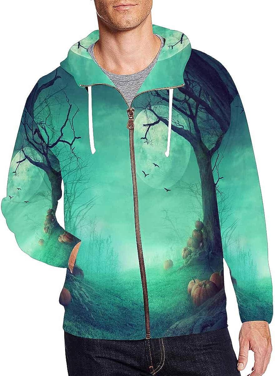 INTERESTPRINT Mens Pullover Full Zip Hoodies Sweatshirt Halloween Spooky Forest with Dead Trees and Pumpkins