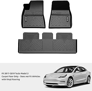 Tesla Model 3 Floor Mats Liners Set All Weather Custom Fit Heavy Duty Floor Protection All Season 2017 2018 2019 Gray