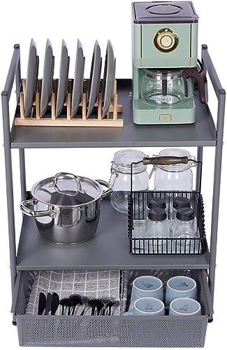 Utility Shelf Microwave Storage Stand Kitchen Storage Table 2-Tier Standing Shelf Jubao Utility Cart