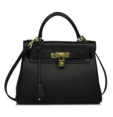 1558735bc34948 Esyuel Women's Padlock Handbag Genuine Leather Satchel Shoulder Bag Purses  Hobo Bag (28CM, Black