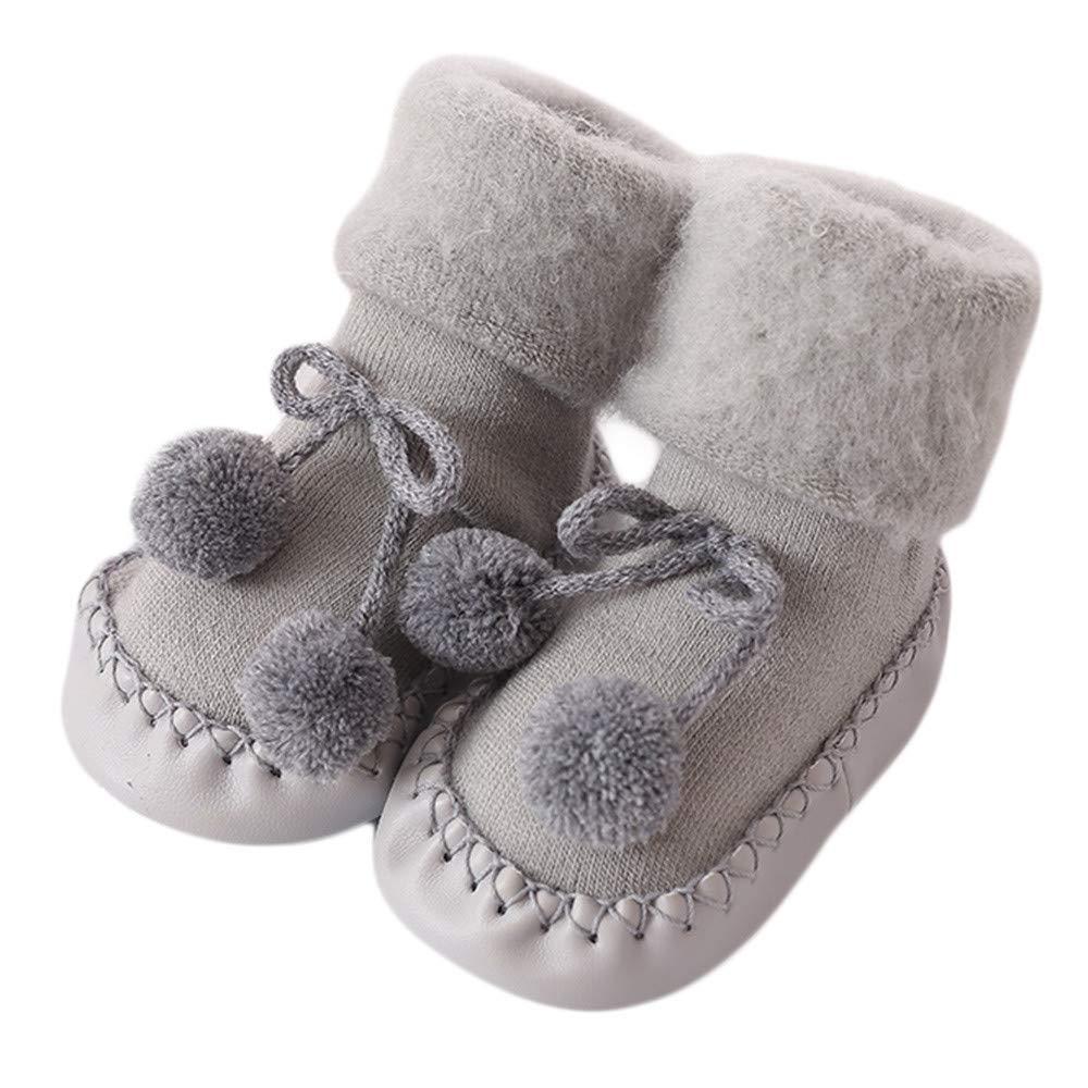 Baby Floor Socks, Inkach Kids Anti-Slip Floor Socks Toddler Soft Bottom Booties Slipper Shoes (0-6 Months/Tag:11, Gray)