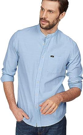 Lee Camisa con Cuello de Banda: Amazon.es: Ropa y accesorios