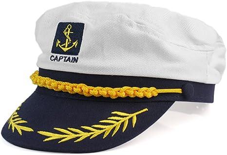 Moda Blanco Sombrero de Marinero Capitán Gorra de Algodón para ...