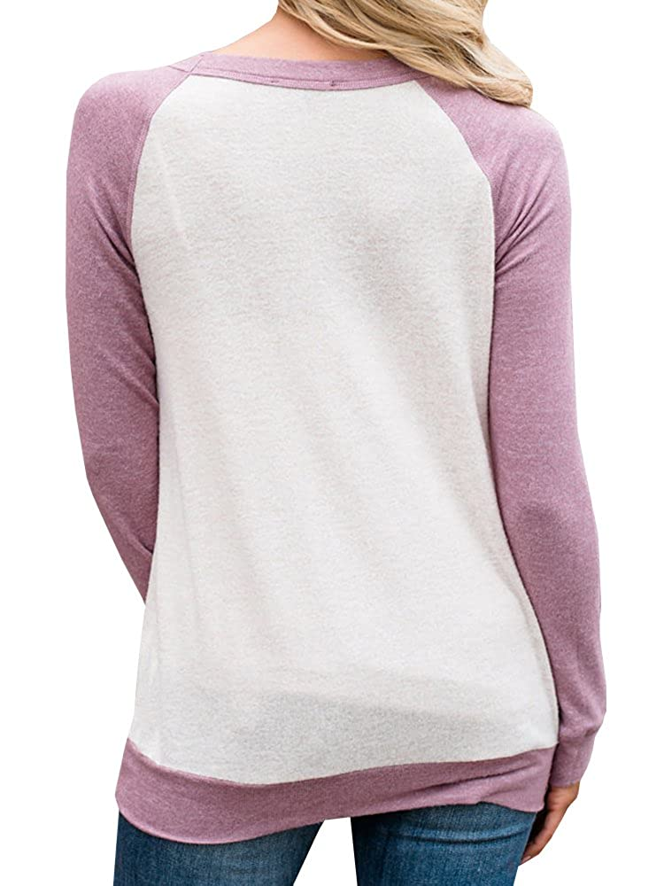 Saikesigirl Womens Crewneck Sweatshirt Raglan Shirt Long Sleeve Casual Fall Top with Pocket