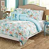 5pc Blue Sealife Ocean Animals Themed Comforter King Set, Seahorses, Starfish, Coral, Sea Shell, Teal Pink Green, Coastal Nautical Pattern, Stripes