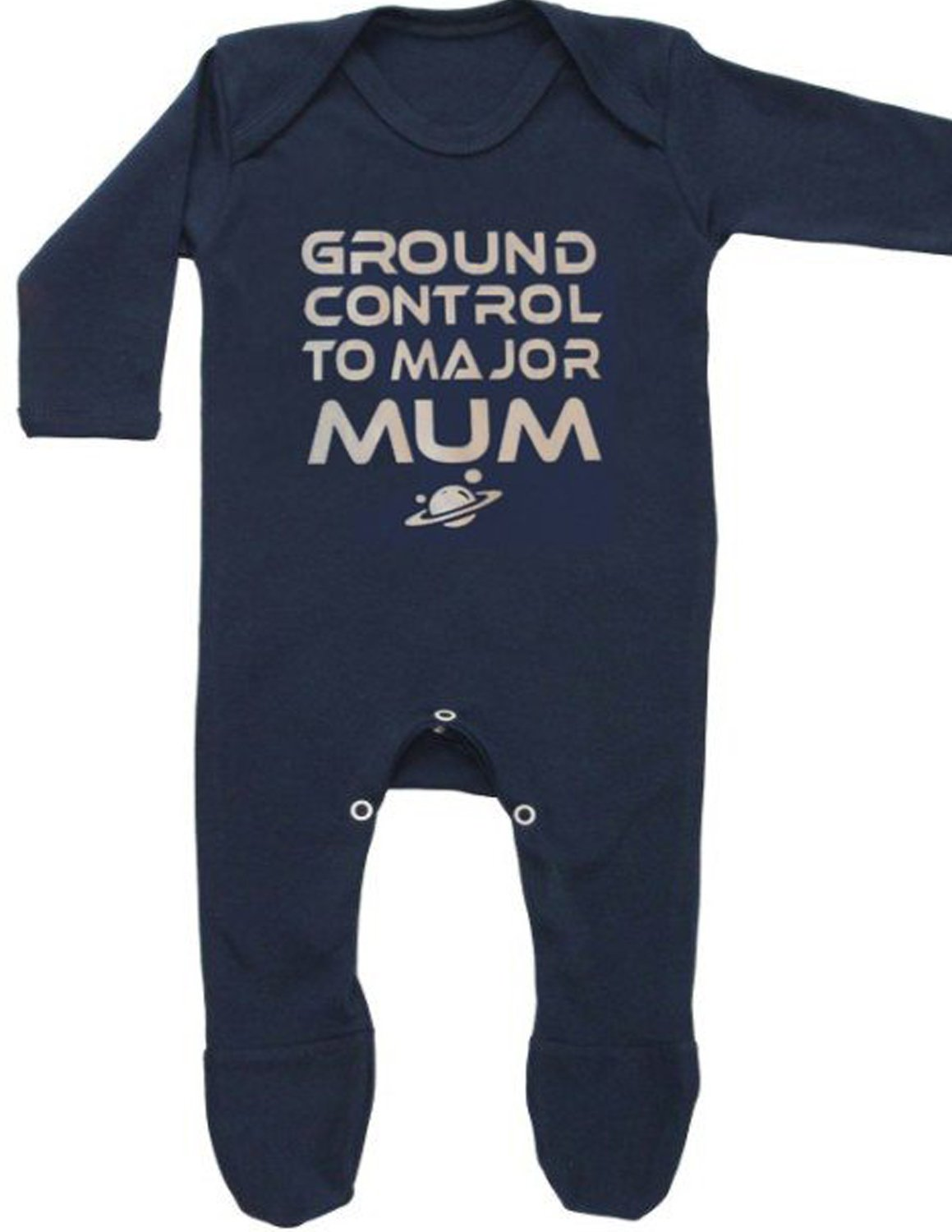 Bowie Inspired Baby Sleepsuit for Boys or Girls | GROUND CONTROL TO MAJOR MUM David Bowie / Ziggy Stardust Romper Outfit - Baby Shower, Newborn Clothes, New Baby Gift | BABY MOO'S UK (0-3 months) New Baby Gift | BABY MOO' S UK (0-3 months) BabyMoos.com