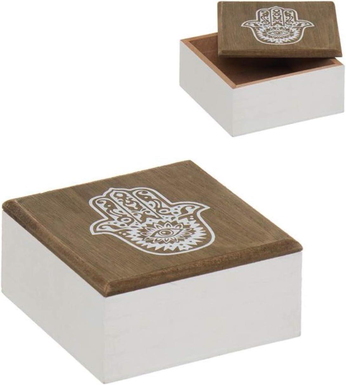 Vidal Regalos Caja Decorativa Redonda Madera Mano de Fatima 11 cm