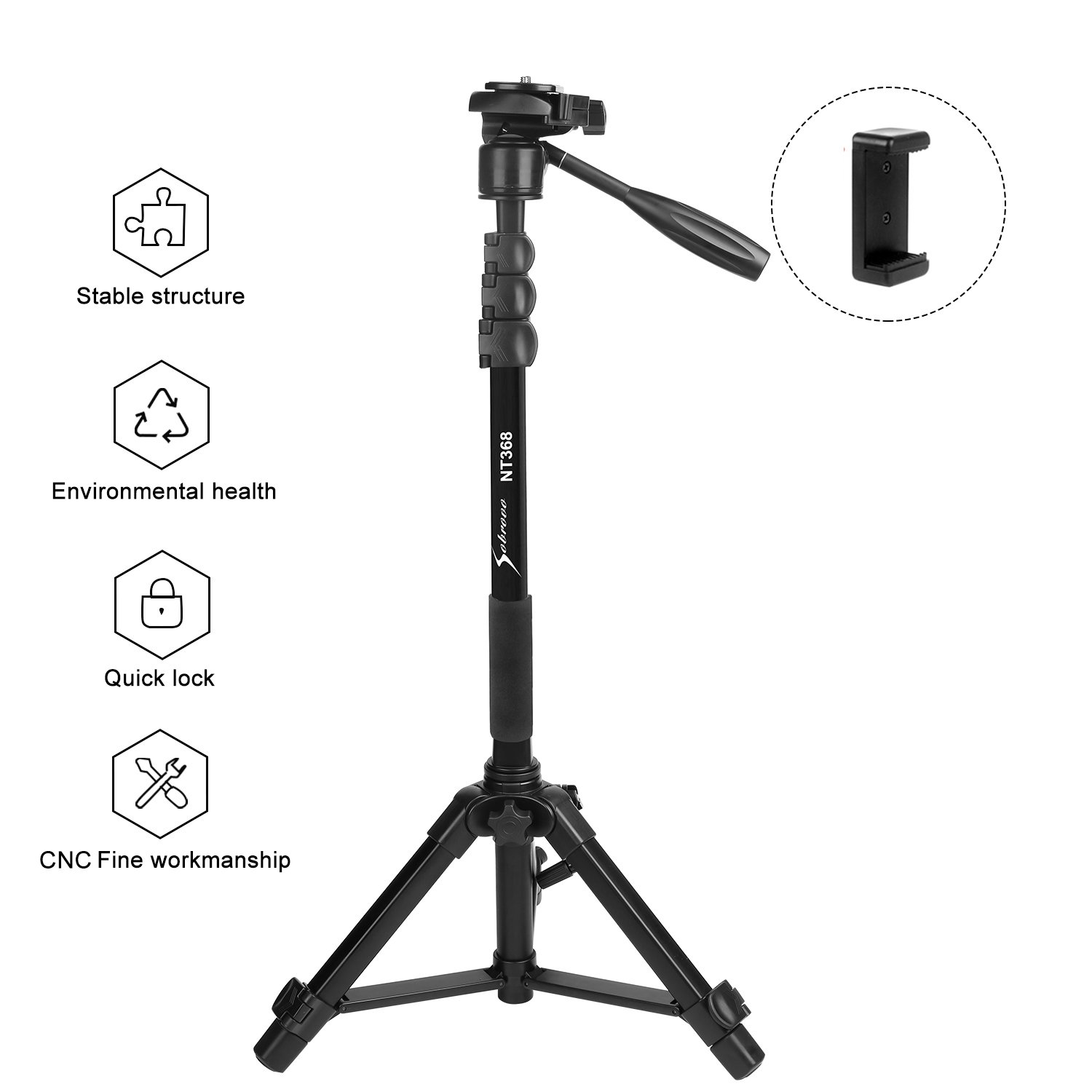 Sobrovo Camera Monopod 70'' Removable Aluminum Telescoping Camera Tripod With Pan-Head For Canon Nikon DSLR DV Quick Release Plate Including Carrying Bag
