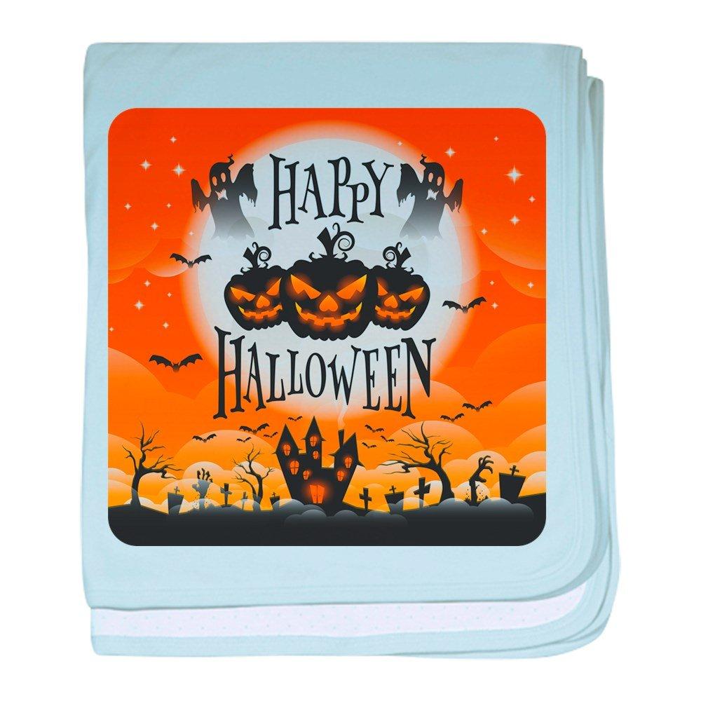 Royal Lion Baby Blanket Happy Halloween Ghosts Pumpkins - Sky Blue