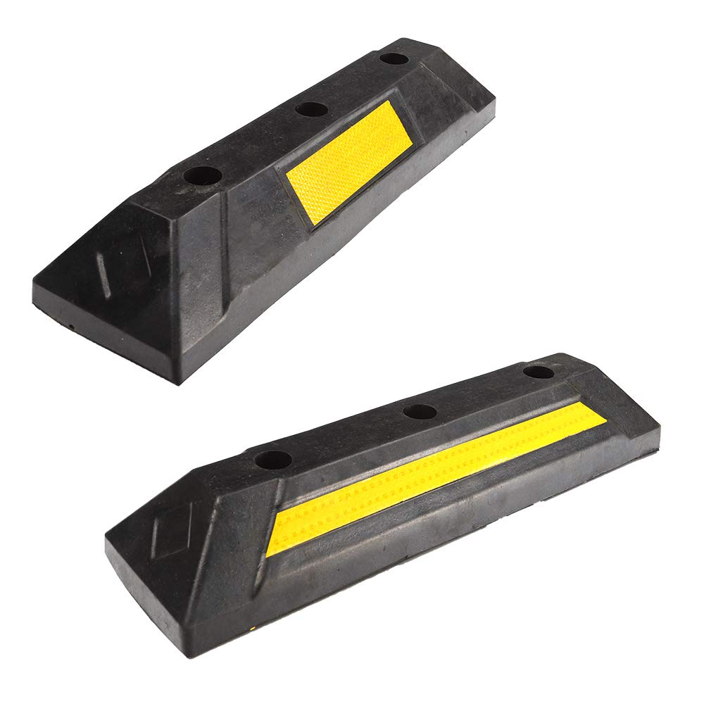 Professional Parking Target for Car Truck Genubi Industry 2 Pack Heavy Duty Rubber Parking Guide Parking Block Curb RV Trailer Garage Wheel Stop Stoppers with Yellow Reflective Stripe