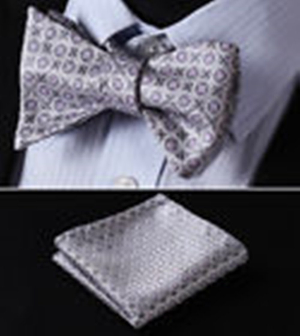 Mondaily DL114K Pink Gray Floral Men Woven Silk Self Bow Tie Pocket Square Set #PPTE4756