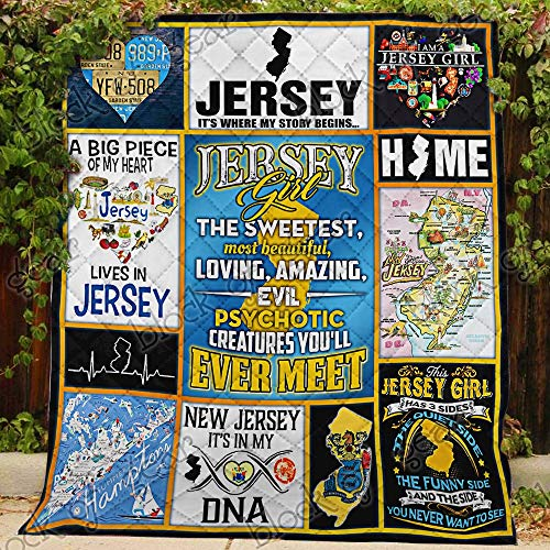 Jersey Girl Quilt PS582, Queen All-Season Quilts Comforters with Reversible Cotton King/Queen/Twin Size - Best Decorative Quilts-Unique Quilted for Gifts