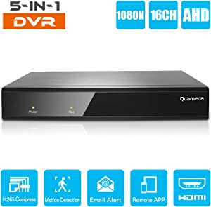 Q-camera 16CH 5M-N/1080N Full High Definition Hybrid AHD/TVI/CVI/Analog/Onvif IP DVR H.265 CCTV Video Recorder P2P Remote Phone Monitoring for Home Security Surveillance System Camera (NO HDD)