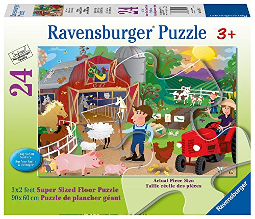 - Ravensburger Farm Mania Super Sized Floor Puzzle 24 Piece Jigsaw Puzzle for Kids – Every Piece is Unique, Pieces Fit Together Perfectly