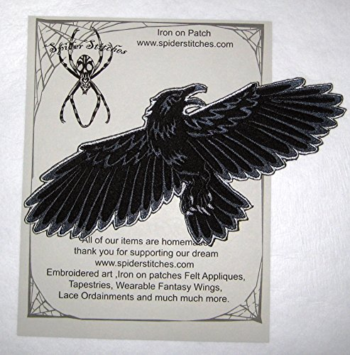 Night's Watch Flying Raven Crow Black Bird Iron on Patch (Homemade Wings For Costume)