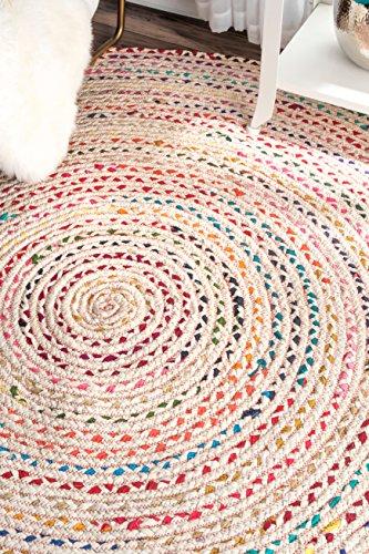 nuLOOM Hand Braided Tammara Cotton Round Rug, 6' Round, Ivory
