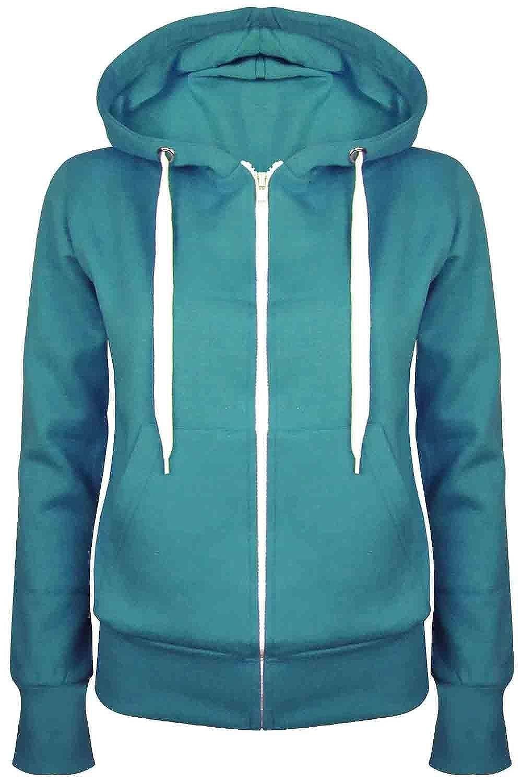 Fashion Star Oops Outlet Ladies Plain Hoody Girls Zip Top Womens Hoodies Sweatshirt Coat Jacket