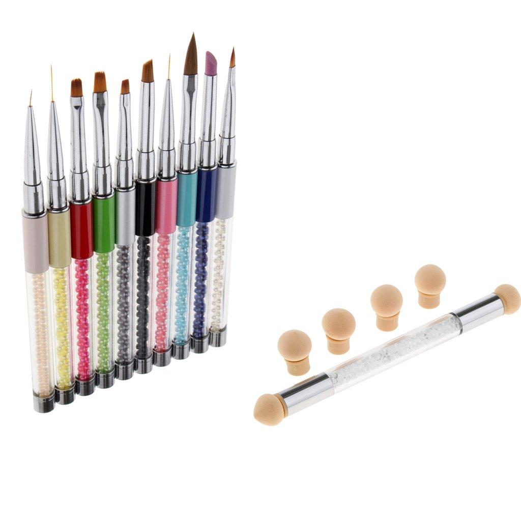 Fenteer 11Pcs Brosse Pinceau Ongle Decor Liner Manucure pinceaux set complet de peinture pour Nail Art