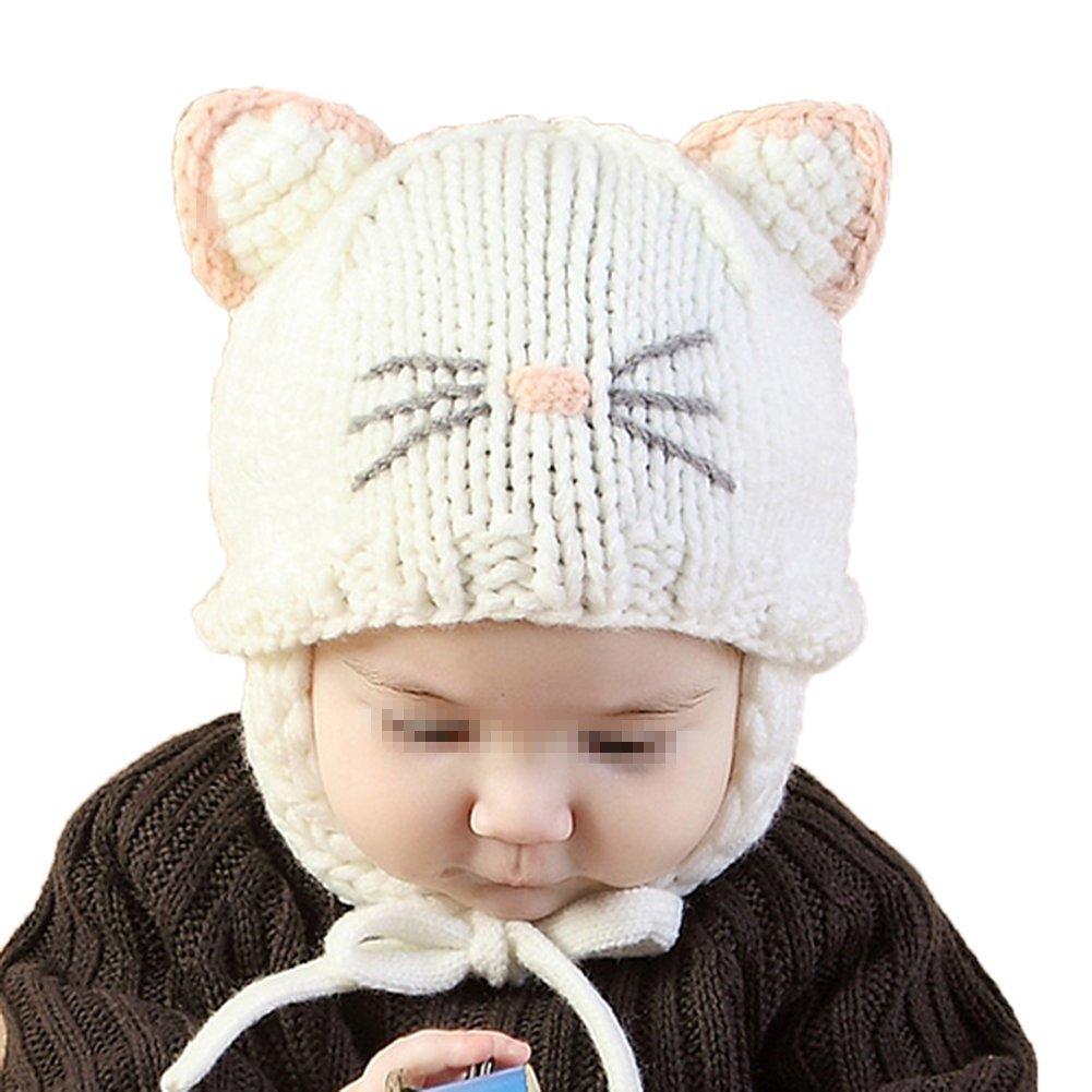 c2f849aae5d4 TININNA Mignon Mode Tricot Crochet Hiver Chaud Chapeau Bonnet Chat Cache  Oreille Beanie Capuchon Casquette Calotte Coiffe Hat Cap pour Enfants Bébés  Filles ...