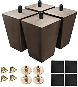 LBW Sofa Legs Wood Furniture Legs Square 4 Inch Replacement Legs Wood Pyramid Legs for Couch, Armchair, Ottoman, Dresser, Cabinet, Sideboard, Set of 4