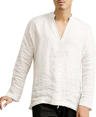 Camisas de Hombres, Dragon868 Ropa Holgada de Manga Larga de Verano de algodón Retro V Cuello Camiseta Blusa para Hombres: Amazon.es: Ropa y accesorios