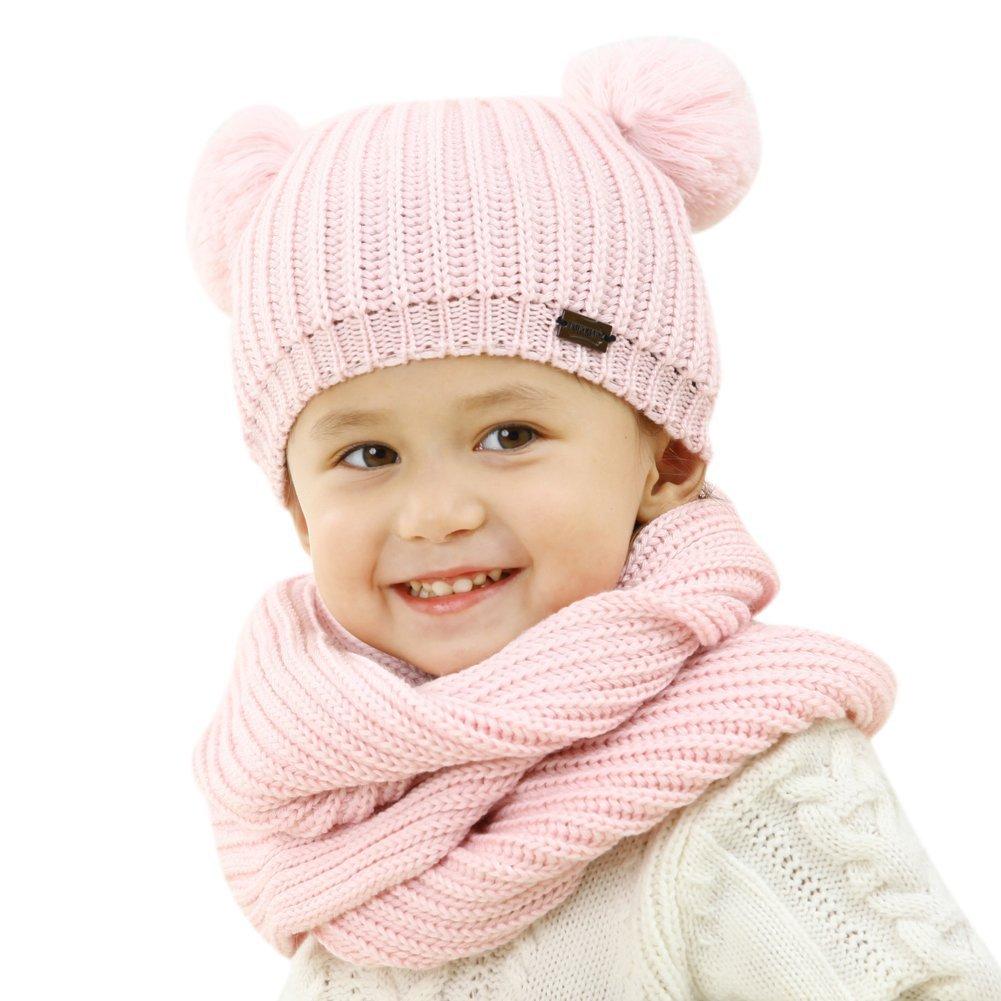 FURTALK Kids Winter Pom Pom Hat -Warm Beanie Knit Hats Scarf Set for Baby Boys Girls Toddler (Age 1-5 Years)
