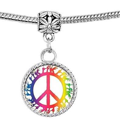 Símbolo de la Paz con lengua de signos en colores brillantes pulsera: Amazon.es: Joyería
