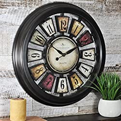 FirsTime & Co. Numeral Plaques Wall Clock, 22.5, Metallic Black