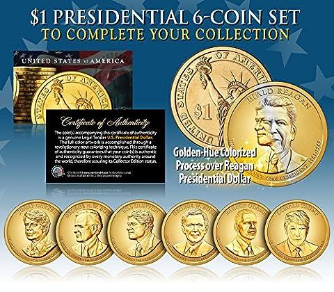 LIVING PRESIDENTS w/ TRUMP 2016 Presidential Dollars 6-COIN SET Color GOLDEN-HUE - Dollar Coin