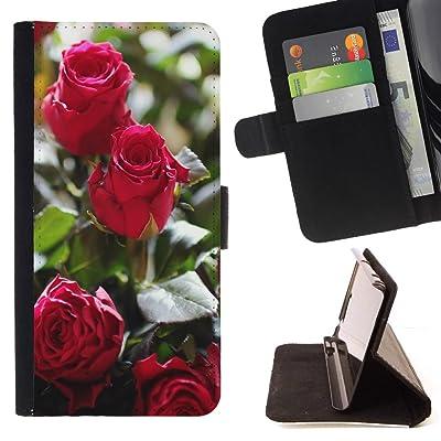 FJCases Rosas Rojas Amor Flor Carcasa Funda Billetera con Ranuras para Tarjetas y Soporte Plegable para Samsung Galaxy J7 V/Galaxy J7 Perx