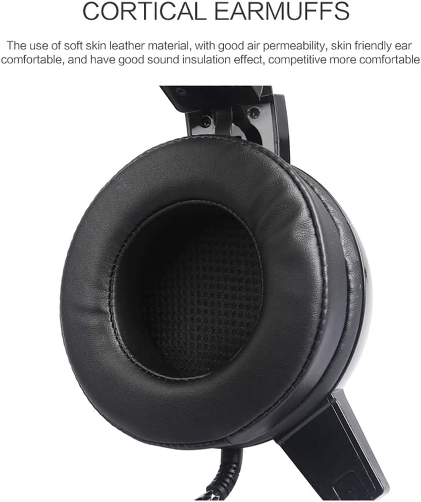 Game Headphone with Microphone LED Light for Computer PC Gamer Delivers Clear Sound and Deep Bass QKa Gaming Headset with 40mm Super Big Driver Unit