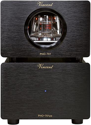 Vincent PHO 701 Phono Preamplifier MM MC w Outboard Power Supply Black