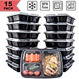 [15 Pack] FreshPREP Meal Prep Containers - Reusable, Stackable, BPA Free, ...