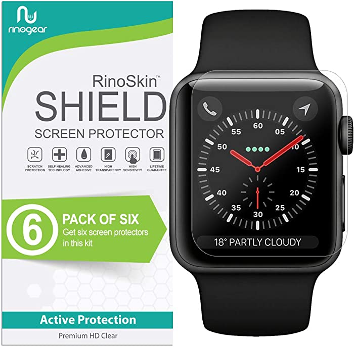 (6-Pack) Apple Watch 42mm Screen Protector (Series 3 2 1) RinoGear Case Friendly iWatch Screen Protector for Apple Watch Series 3 42mm Accessory Clear Film