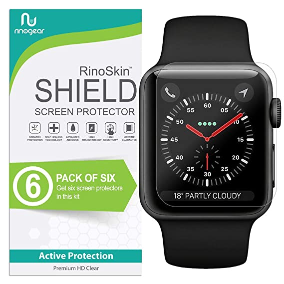 the latest 14b04 e0bd8 (6-Pack) Apple Watch 42mm Screen Protector (Series 3 2 1, Compatible Short  Fit for 44mm Series 4) RinoGear Case Friendly iWatch Screen Protector for  ...