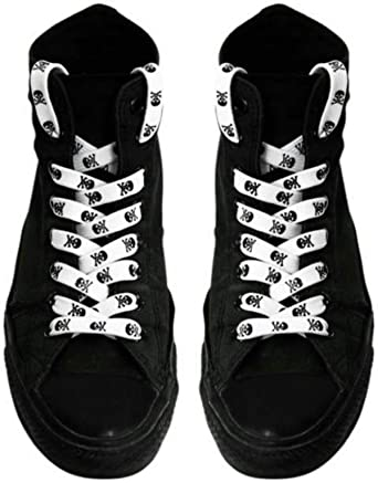 Unisex Black and White Skull and Crossbones Pair of Shoelaces Brand New