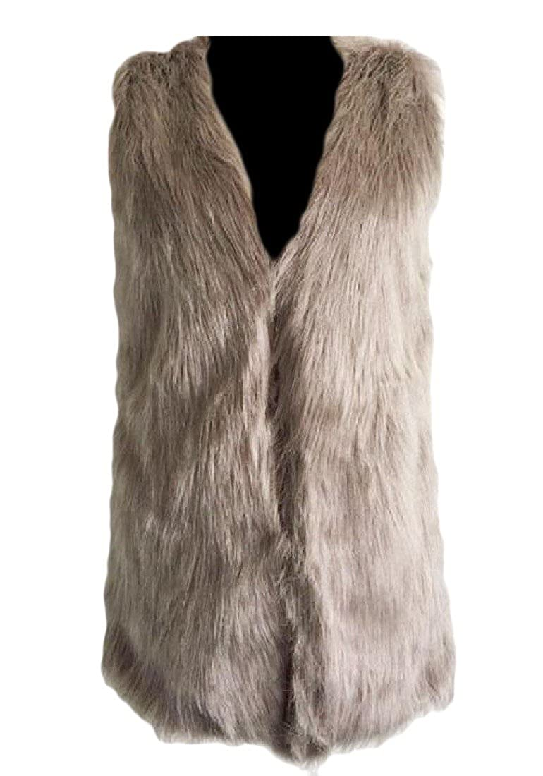FreelyWomen Freely Women Solid-Colored Mid-long Open - Front Faux Fur Warm vest