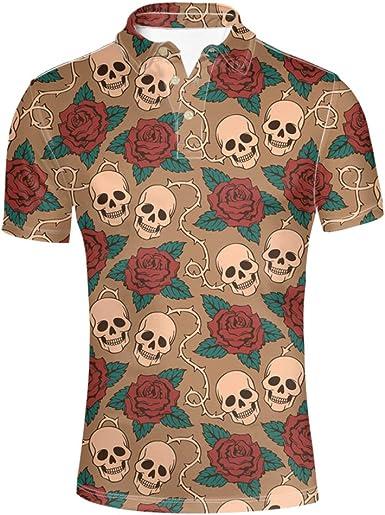 HUGS IDEA Skull - Camiseta de manga corta para hombre: Amazon ...