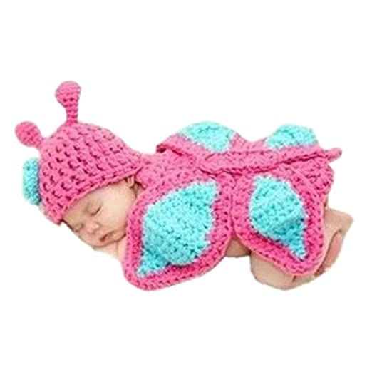 f97ac225ac35 Amazon.com: Fullkang Baby Newborn 0-9m Knit Crochet Minnie Butterfly Clothes  Photo Outfits: Clothing