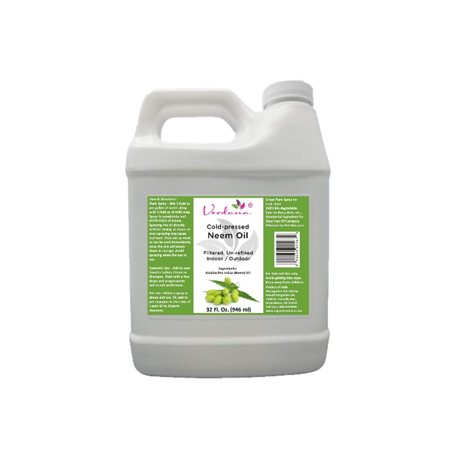Verdana Cold Pressed Neem Oil 32 Fl. Oz - Unrefined, Filtered - High Azadirachtin Content - 100% Neem Oil, Nothing Added or Removed - Indoor/Outdoor Leafshine, Pet Care, Skin Care, Hair Care by Verdana