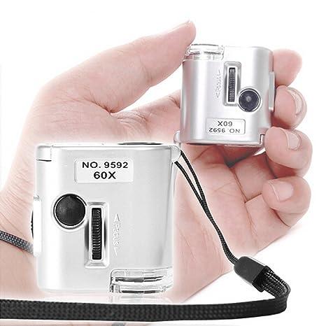 Lupa HD 60x con Luz LED Microscopio Identificación De La Joyería Identificación De Humo Identificación del
