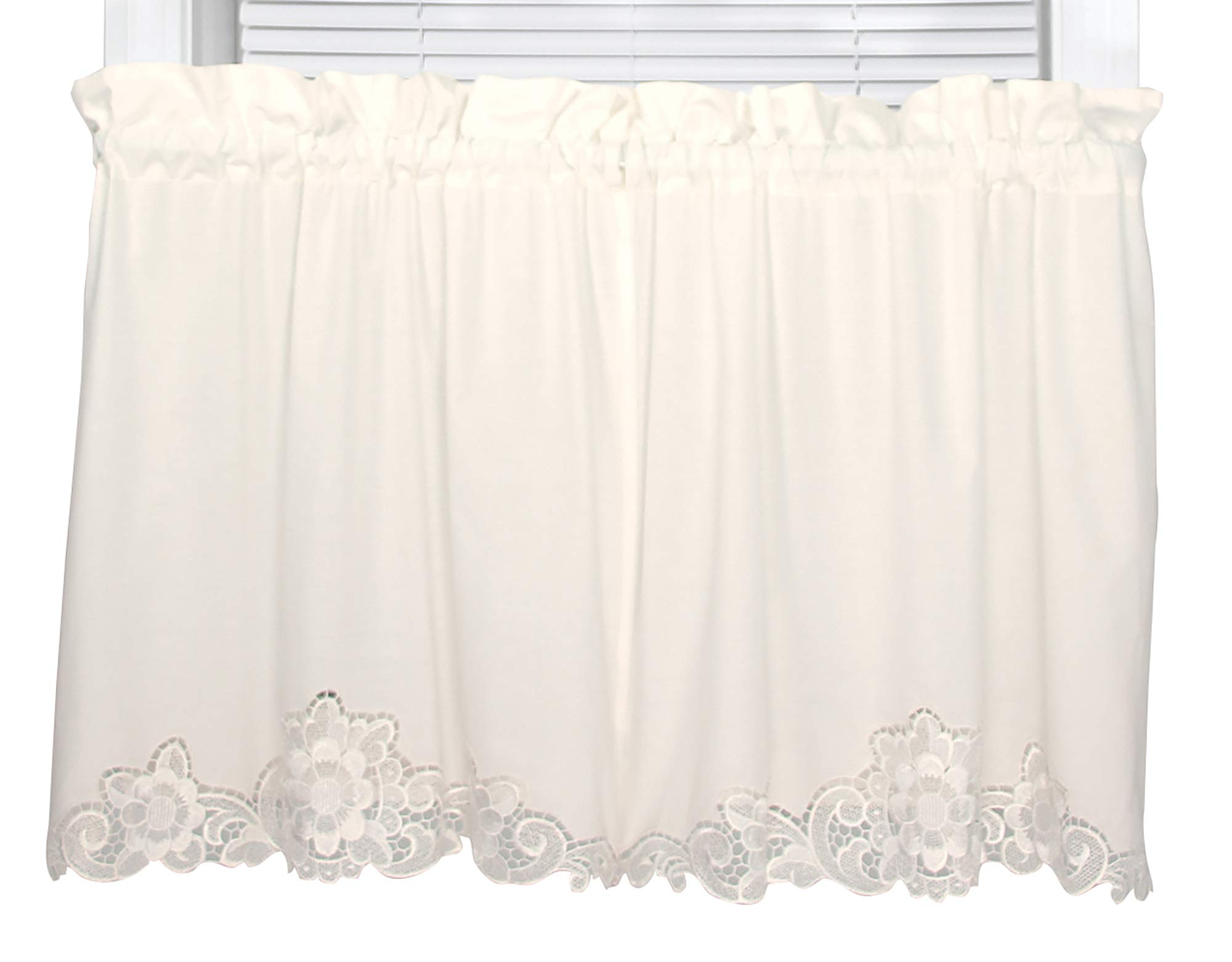 H.C. International Romance 60 Inches Wide x 30 Inches Long Cotton and Polyester Tier Curtain, Ecru by H&C International