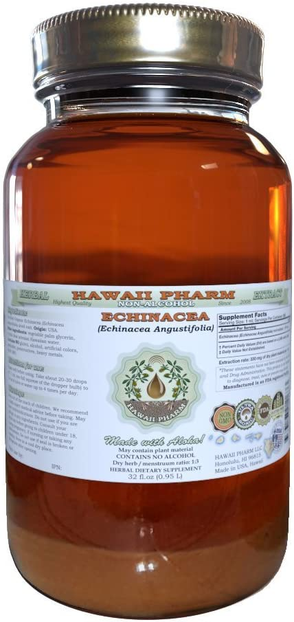 Echinacea Alcohol-FREE Liquid Extract, Echinacea Echinacea Angustifolia Dried Root Glycerite Hawaii Pharm Natural Herbal Supplement 32 oz Unfiltered