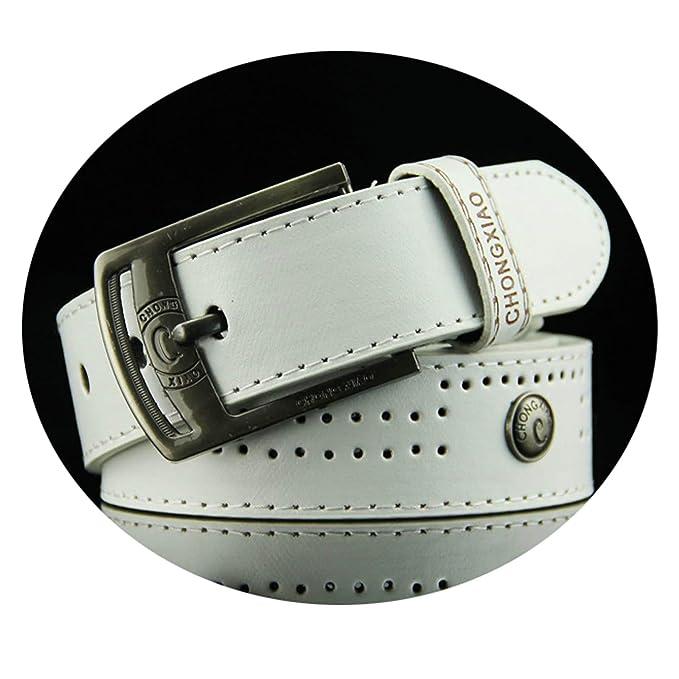ROMQUEEN Cintur/ón de Piel Cinturones con Flores Traje para Ropa Formal//Jeans Cintur/ón Hombre de 110CM