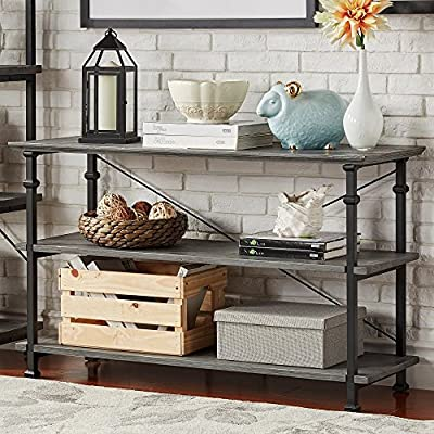 TRIBECCA HOME Myra Vintage Industrial TV Stand Grey Wood with 2 Shelves DVD Books