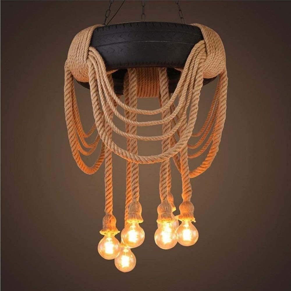 Waitousanqi Retro Creative LOFT Industrial Personality Chandelier, Living Room/Dining Room/Cafe, 6 Lamp Holders, Resin Material